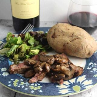 ribeye with mushrooms and a Duckhorn Merlot.