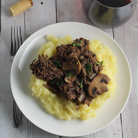 Slow Cooker Short Ribs with Mushrooms.