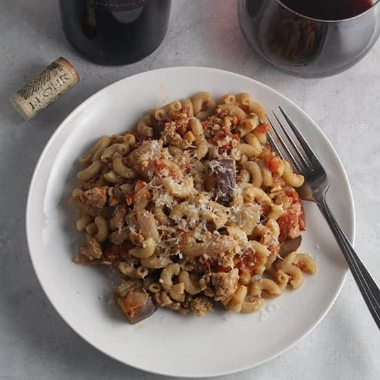 tomato and eggplant pasta with ground turkey.