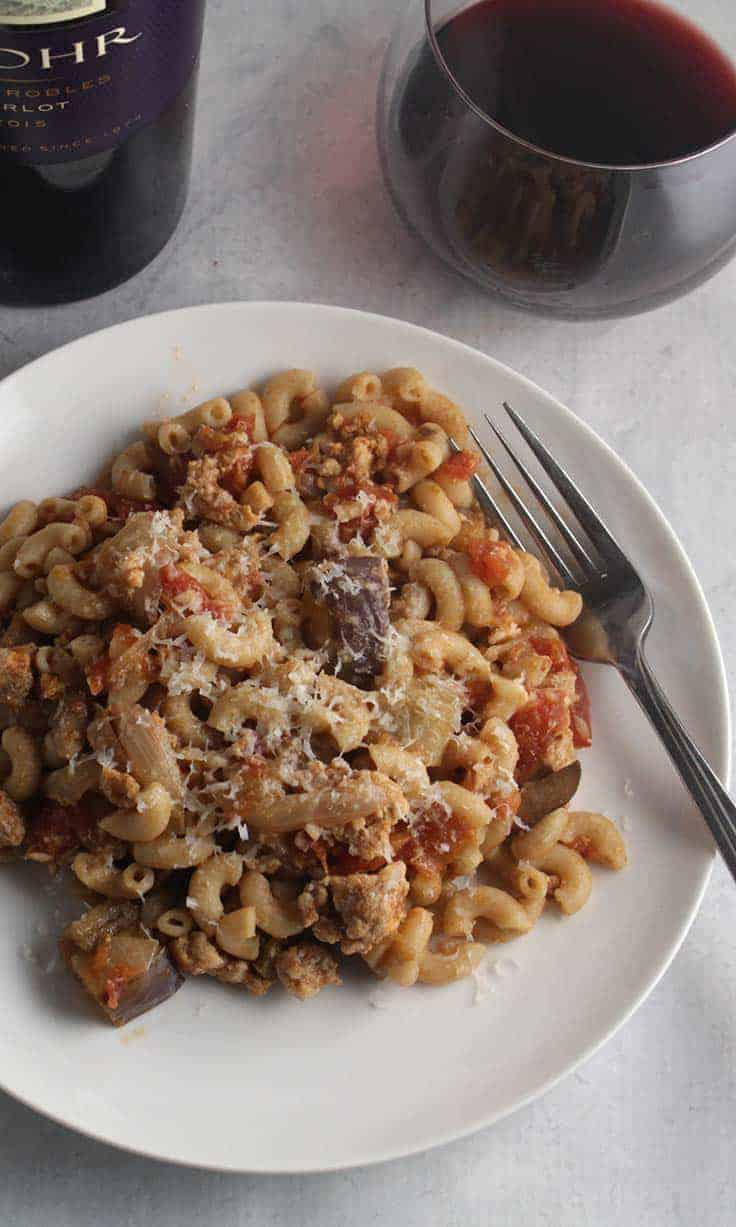 Tomato and Eggplant Pasta with Turkey makes a hearty and healthy meal, delicious paired with a good Merlot. #pasta #winepairing #MerlotMe #eggplant