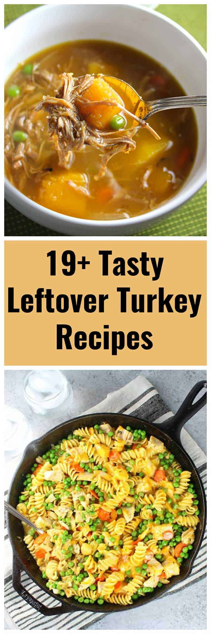 collage with two images of leftover turkey recipes.
