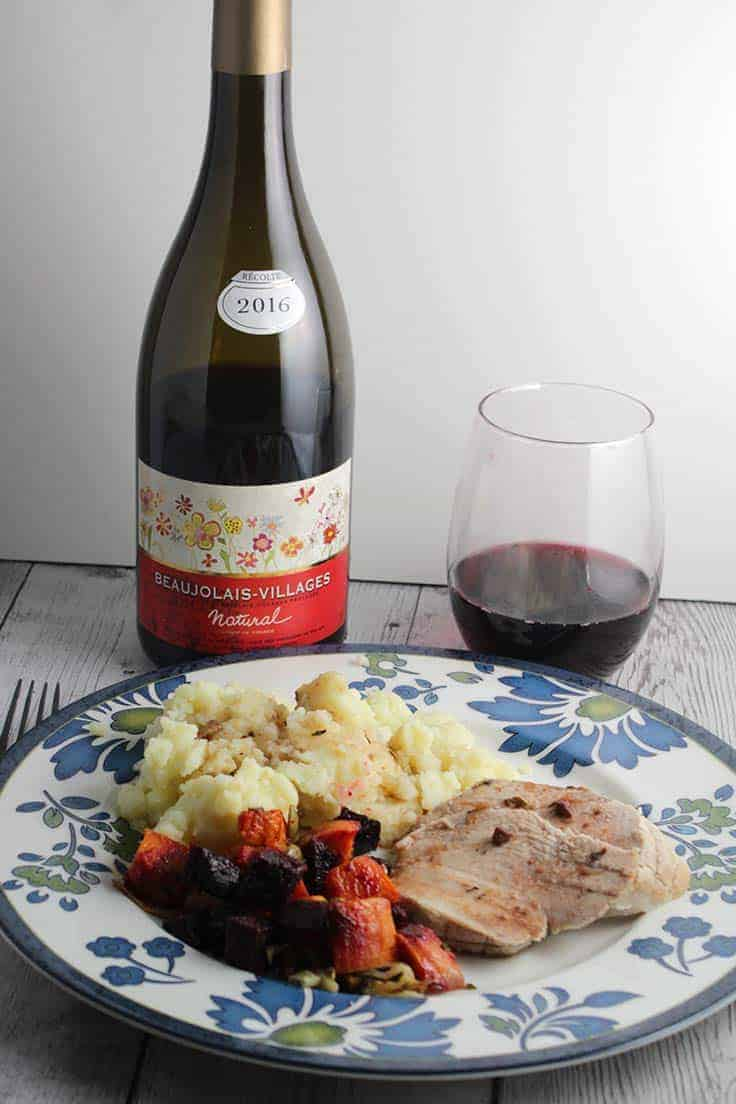 The Beaujolais-Villages Natural is a food-friendly wine that pairs very well with roast turkey.