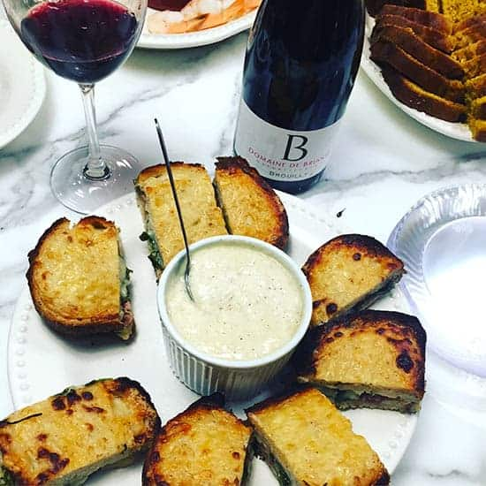 The Côte de Brouilly Les Garances is a very nice wine and pairs well with croques monsieurs.
