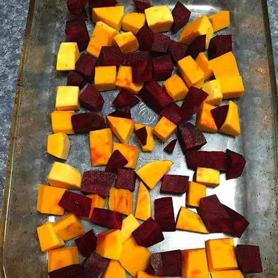 making roasted beets and butternut squash.