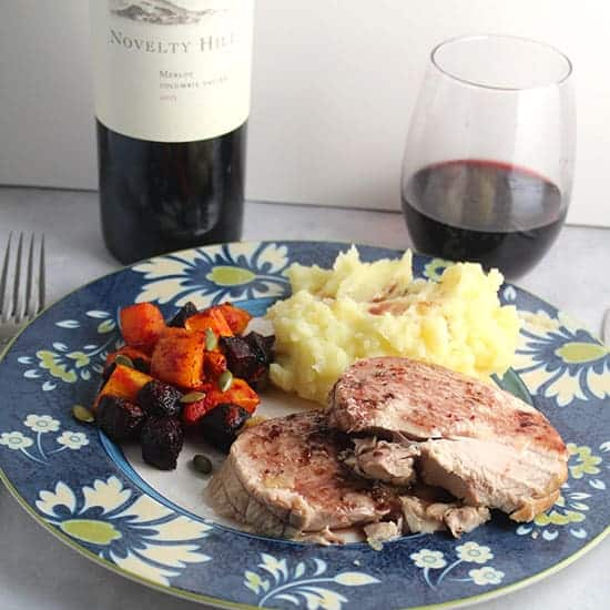 Novelty Hill Columbia Valley Merlot paired with roast turkey breast.