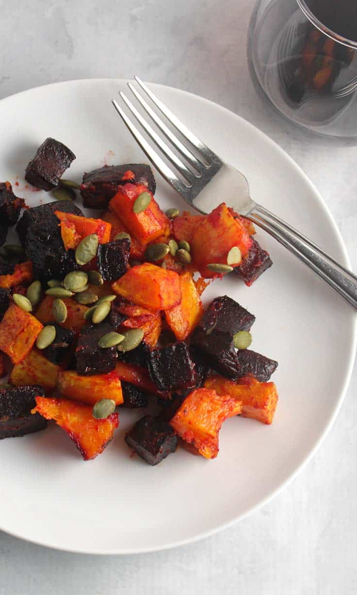 roasted beets and butternut squash, an easy and healthy #glutenfree holiday side dish. #SundaySupper #ThanksgivingRecipes