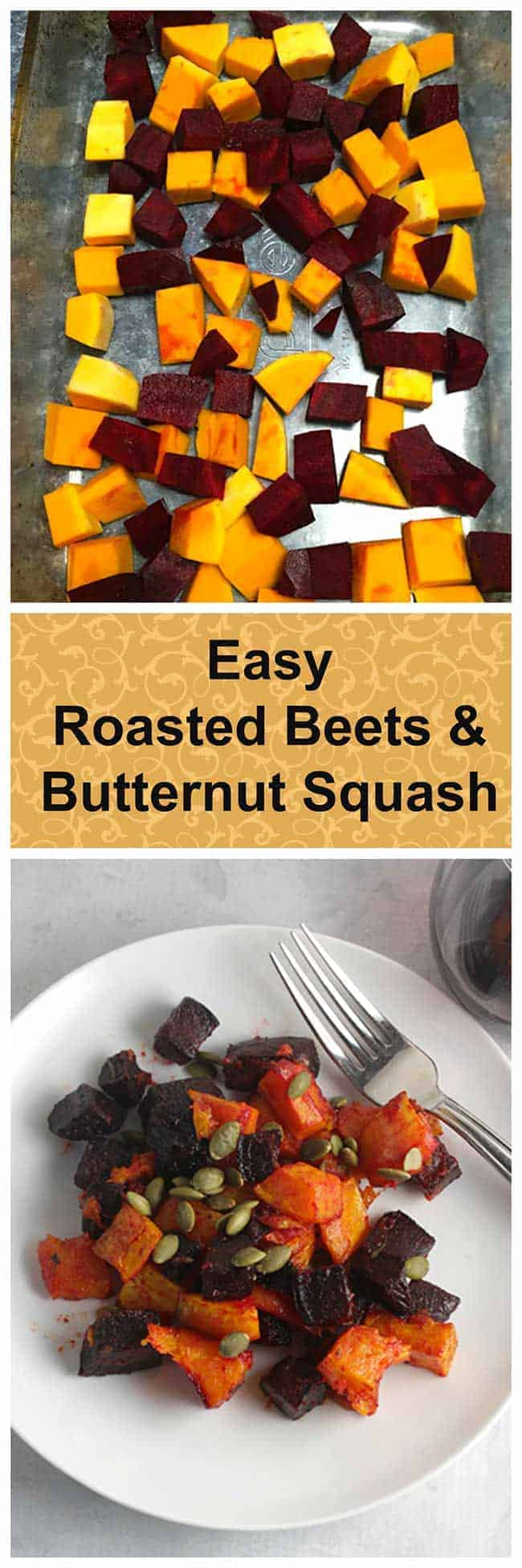 roasted beets and butternut squash recipe, an easy and healthy #glutenfree holiday side dish. #beets #sidedishrecipes