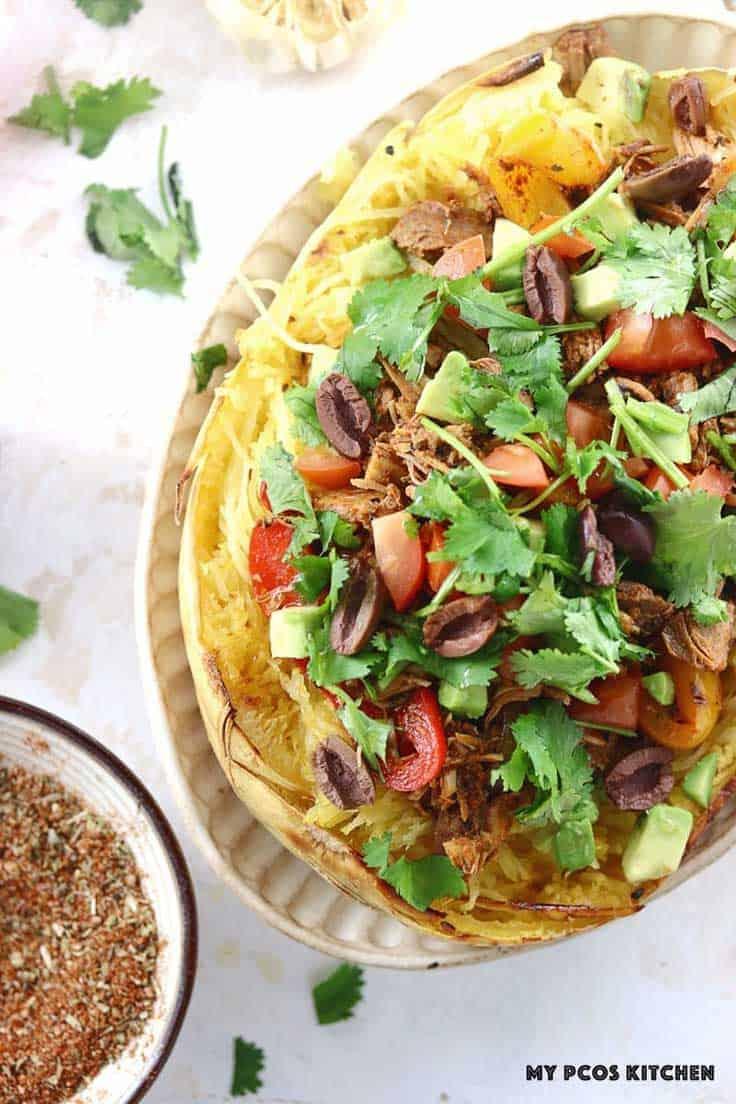 Paleo Turkey Taco Spaghetti Squash is healthy option for leftover turkey.