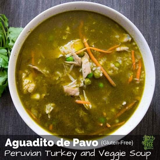 Peruvian Turkey and Veggie Soup gives your leftover turkey an international flair!