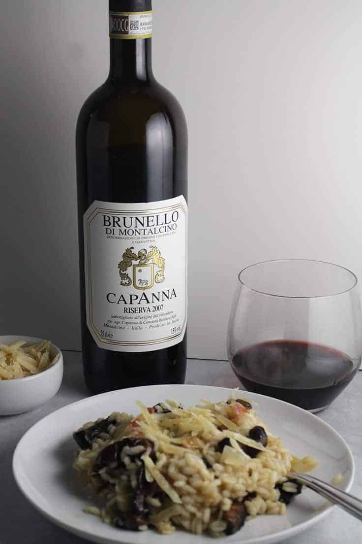 The 2007 Capanna Brunello is an impressive wine, and pairs very nice with portobello mushroom risotto. #ItalianWine #winepairing #Brunello