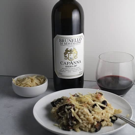 Capanna Brunello paired with portobello mushroom risotto
