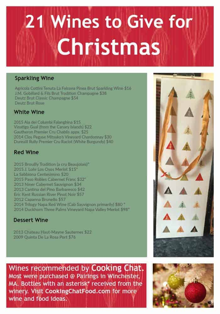 21 bottles of wine that would make great Christmas gifts, recommended by Cooking Chat. #wine #Christmas