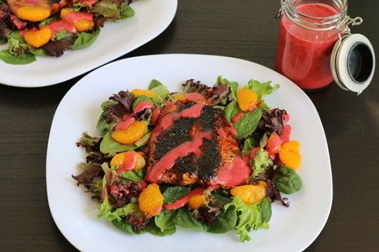 Blackened Salmon Salad with Huckleberry Vinaigrette