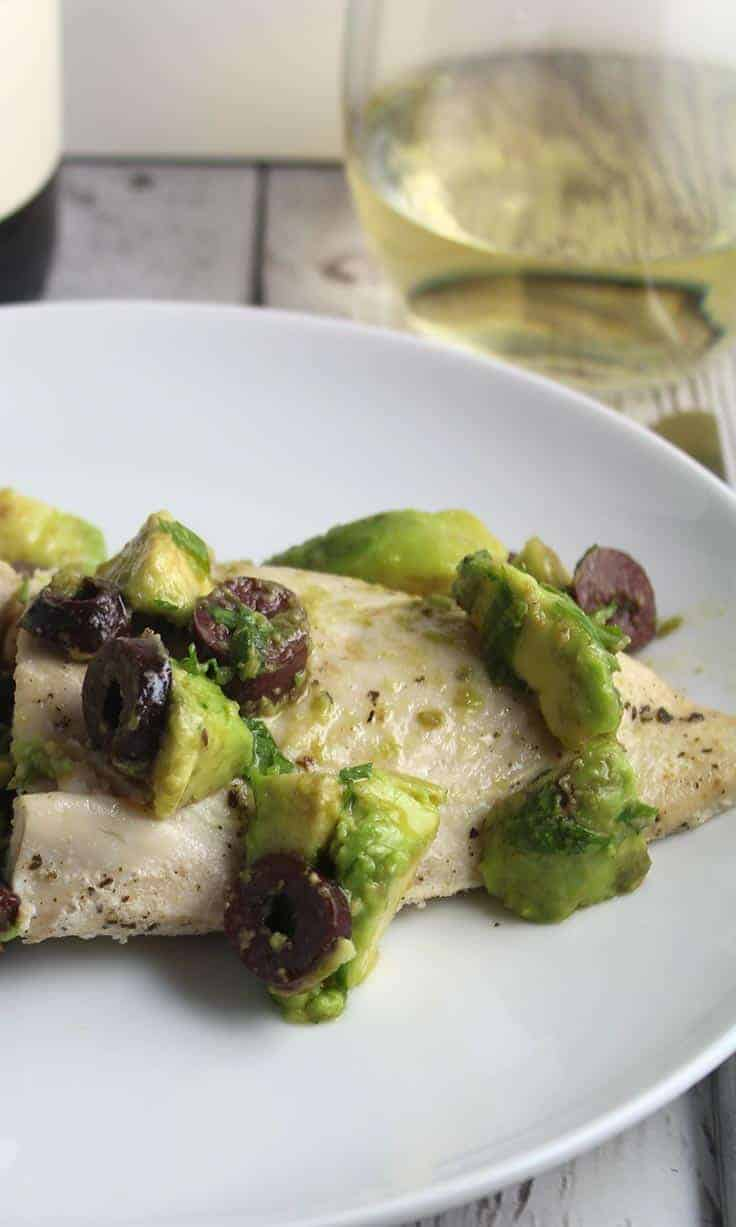 Easy Olive and Avocado Chicken recipe makes a tasty and healthy meal.