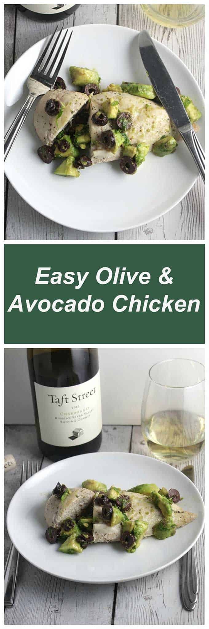 Easy Olive and Avocado Chicken recipe features a tasty and healthy topping quickly made while the chicken bakes. #easymeals #chickenrecipes #avocado