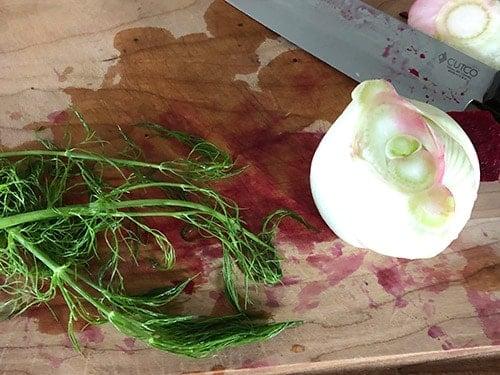 chopping fennel