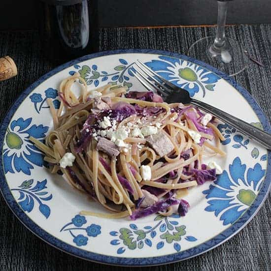leftover turkey linguine with red cabbage