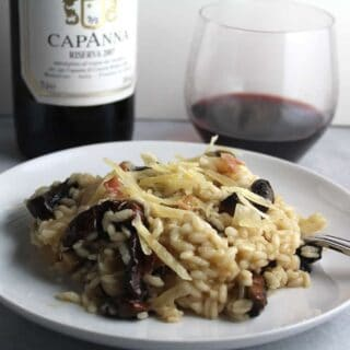 Roasted Portobello Mushroom Risotto Paired With Brunello #winePW