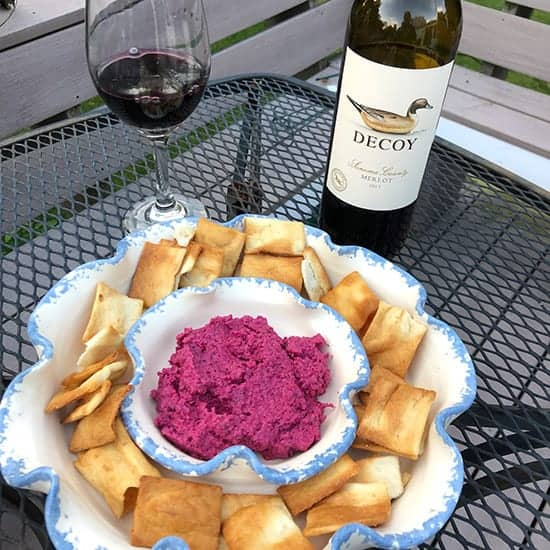 roasted beet dip with Merlot wine pairing