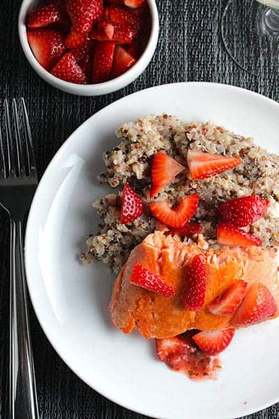 Quinoa with Salmon and Strawberries packs a lot of healthy nutrition!