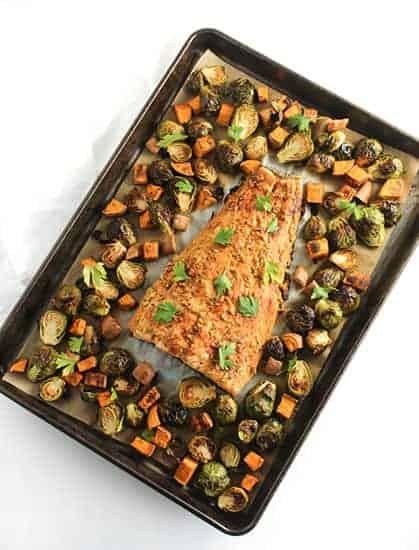 Sheet Pan Maple Dijon Salmon from healthy salmon recipes roundup.