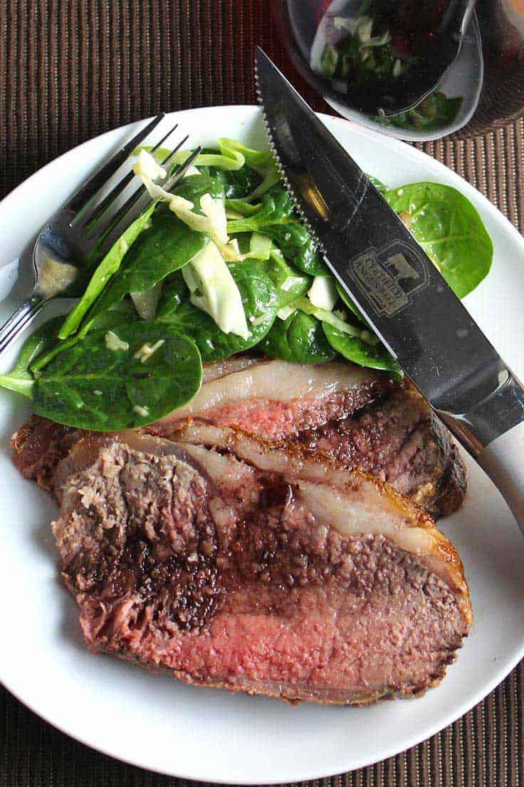Strip Roast with Red Wine Sauce is an easy yet elegant preparation. #roastbeef