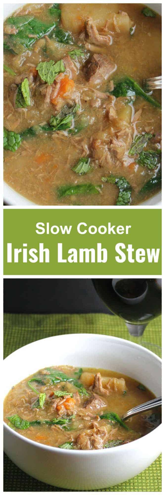 Traditional Irish Lamb Stew in the slow cooker features fall apart tender meat and favorite Irish vegetables. #SundaySupper #SlowCooker #IrishStew
