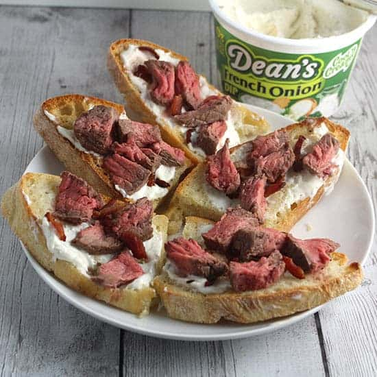bacon and steak crostini