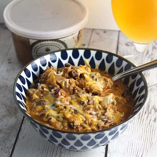 black bean turkey chili served with a beer.