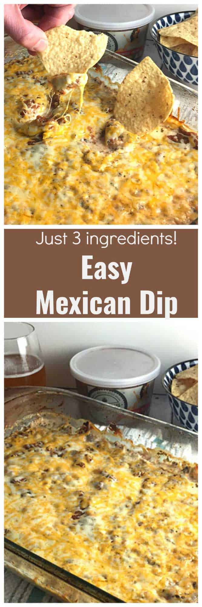 Dig into this Easy Mexican Dip and you will find it hard to stop! Just 3 ingredients! #mexicandip #salsa #ad