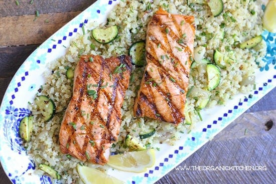 Grilled Salmon with Cauliflower Rice