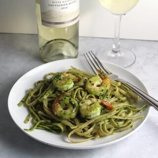 Shrimp Pesto Pasta and #SonomaStrong Wine for #winePW