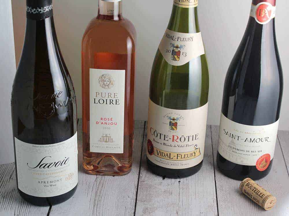 four bottles of wine from France