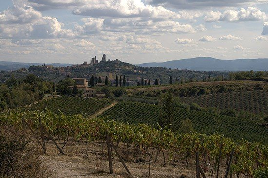 Panoramic view of the San Gimignano hills