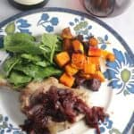 Pork Chops with Pomegranate Sauce, an easy yet elegant recipe that is excellent with Pinot Noir. #pomegranate #porkchops #Pinot