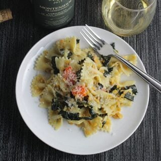 tuscan kale pasta on a plate