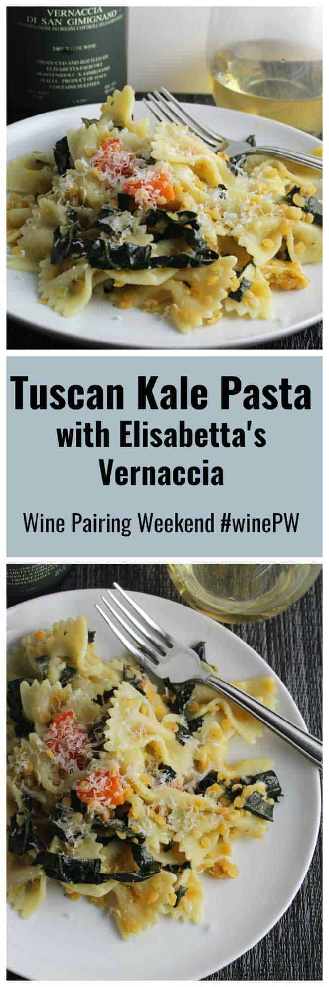 two images of Tuscan kale pasta on a plate served with white wine.