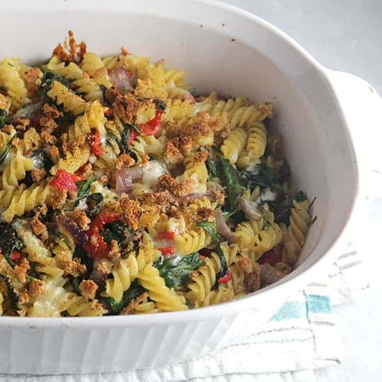 vegetarian baked pasta in a casserole dish.