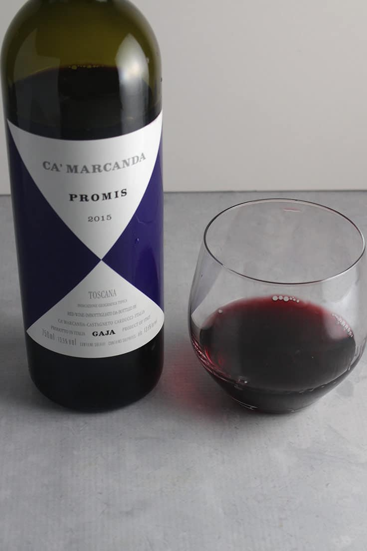 bottle of Ca'Marcanda Promis red wine.