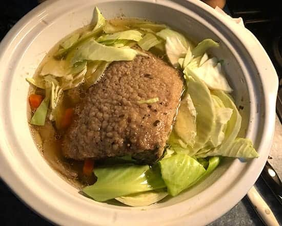 corned beef in slow cooker with cabbage