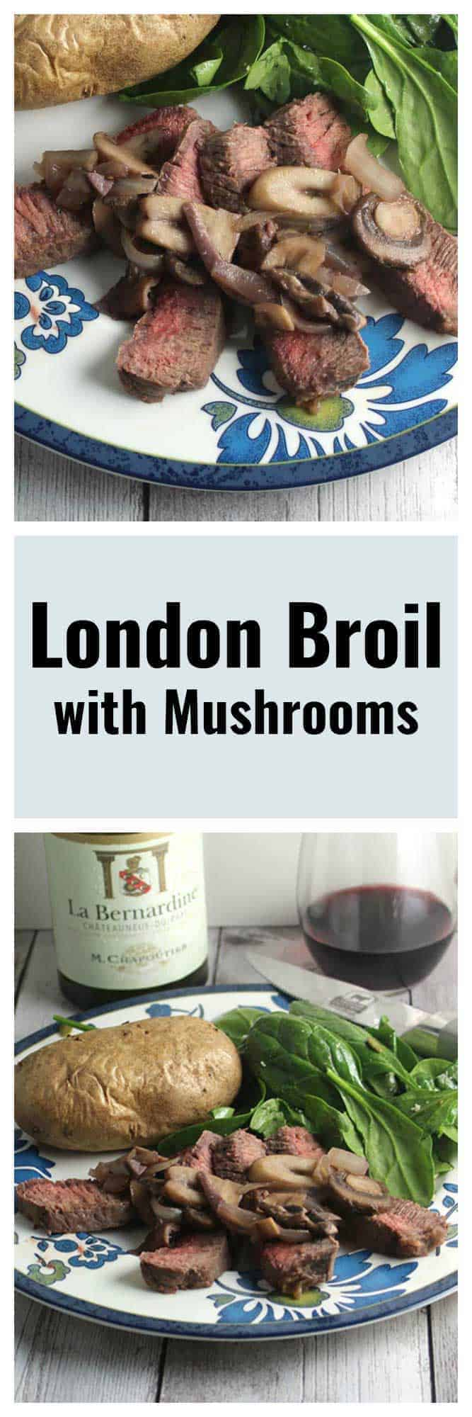 Two images of London broil steak with mushrooms