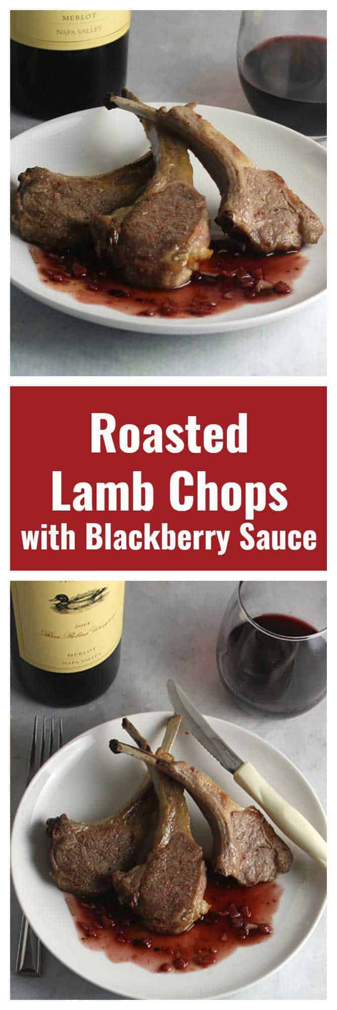 two images of roasted lamb chops with blackberry sauce, served with red wine.