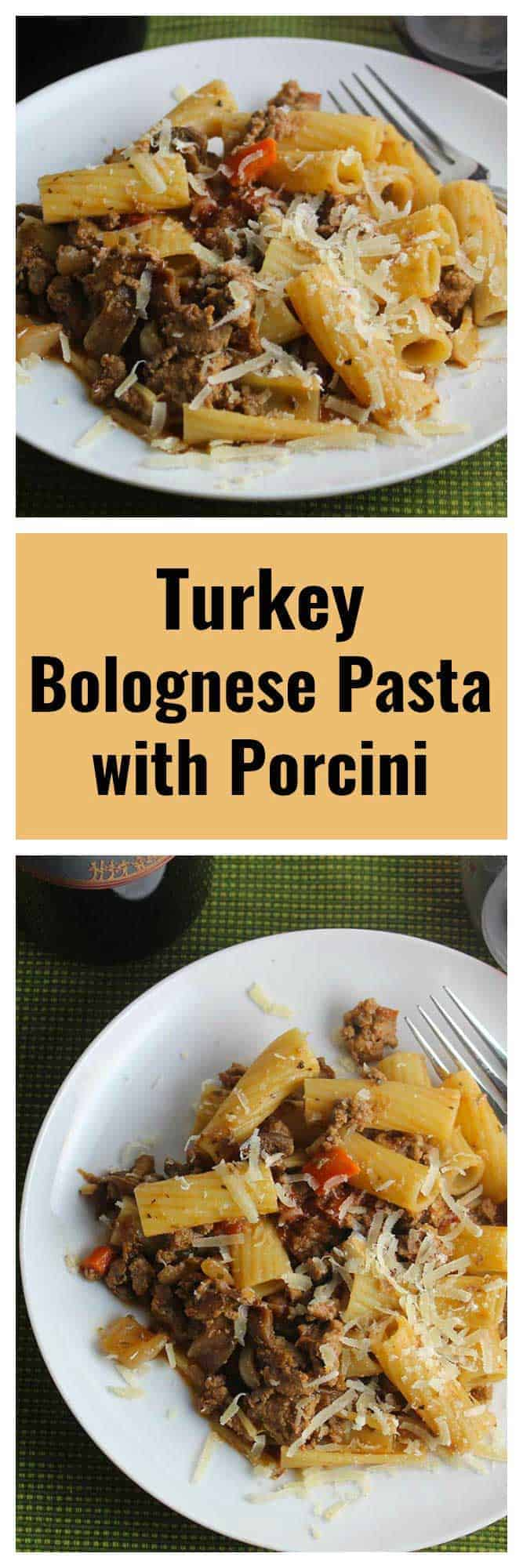 two images of turkey Bolognese pasta on a plate.