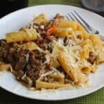 plate of pasta with turkey bolognese sauce.