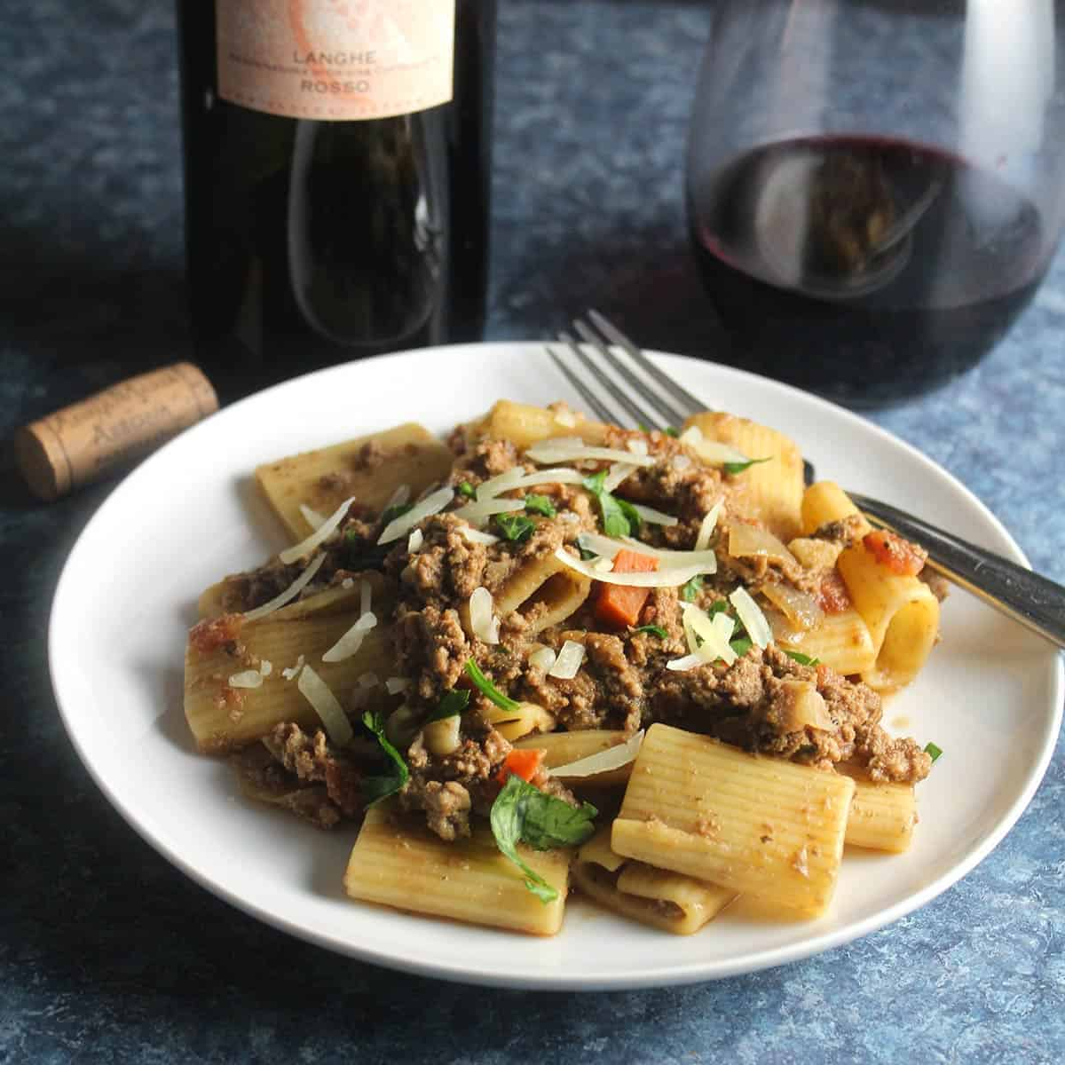 turkey bolognese paired with red Italian wine.