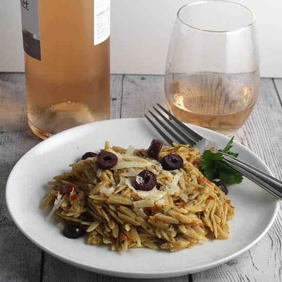 orzo with rosé wine pairing