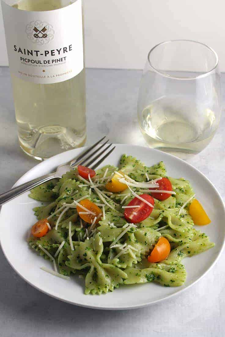 pasta with pesto served with white wine made from Picpoul grape.