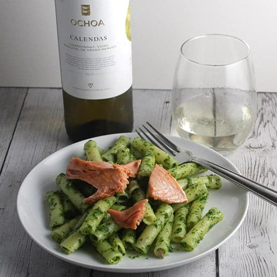 plate with salmon pesto pasta served with white wine from Navarra Spain.