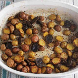 baking dish with Spanish roasted potatoes