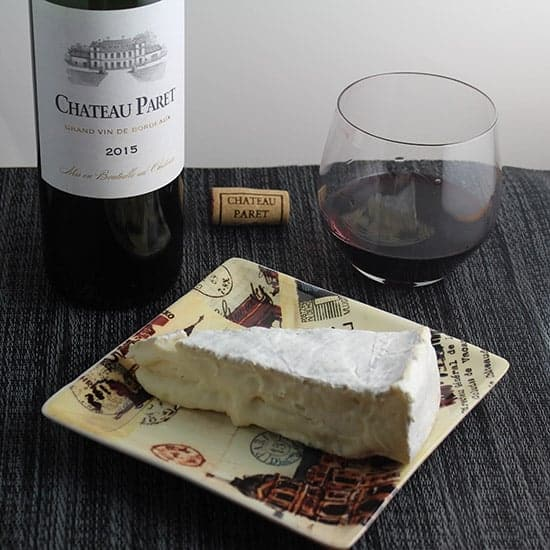 Chateau Paret paired with brie cheese.